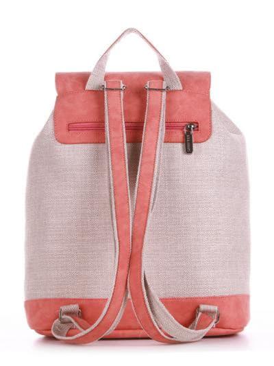 Модный рюкзак, модель 190403 бежевый-персиковый. Фото товара, вид сзади.