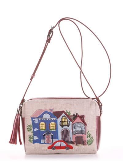 Модная сумка маленькая, модель 190221 бежевый-бордо-перламутр. Фото товара, вид спереди.
