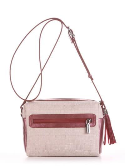 Модная сумка маленькая, модель 190221 бежевый-бордо-перламутр. Фото товара, вид сзади.
