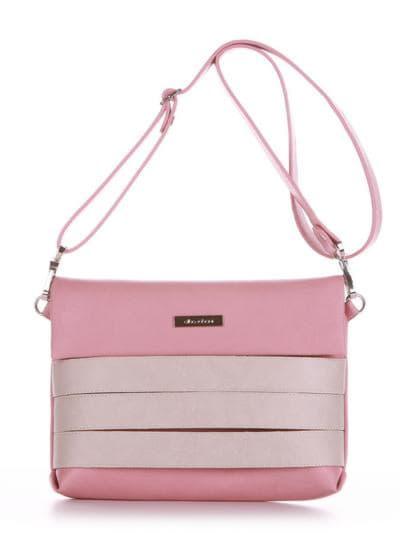 Стильная сумка маленькая, модель 190353 пудрово-розовый. Фото товара, вид спереди.