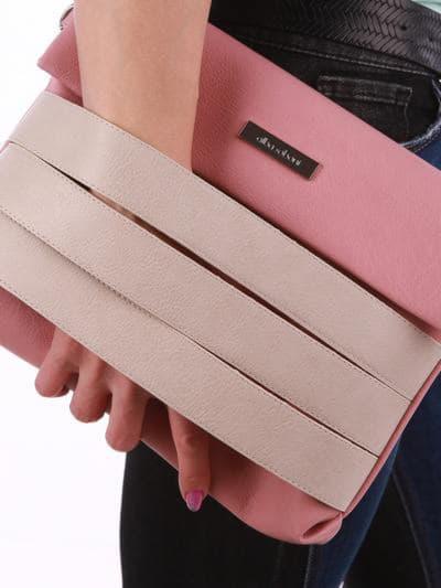Стильная сумка маленькая, модель 190353 пудрово-розовый. Фото товара, вид дополнительный.