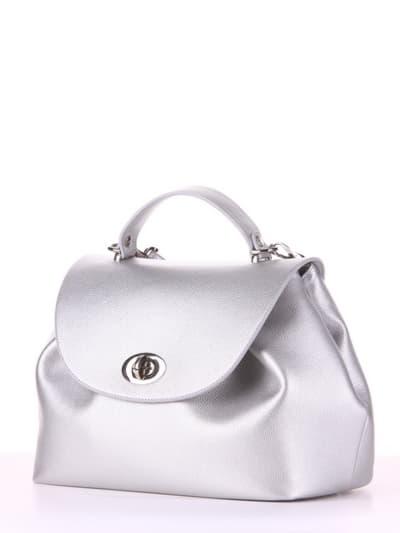 Модная сумка, модель 190006 серебро. Фото товара, вид сбоку.