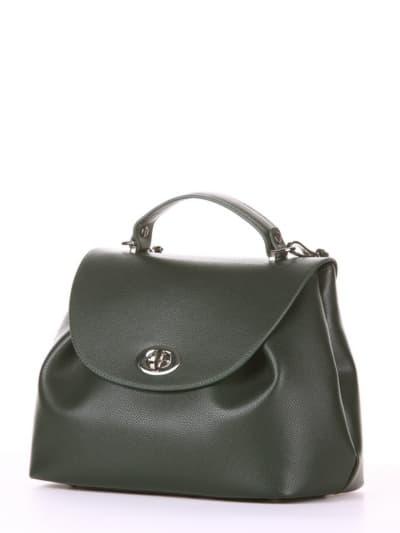 Брендовая сумка, модель 190007 темно-зеленый. Фото товара, вид сбоку.