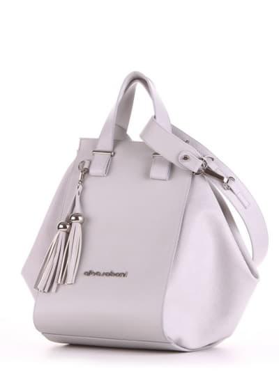 Брендовая сумка, модель 190025 светло-серый. Фото товара, вид сбоку.
