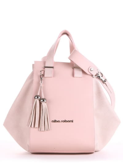 Летняя сумка, модель 190026 бежевый-розовый. Фото товара, вид спереди.
