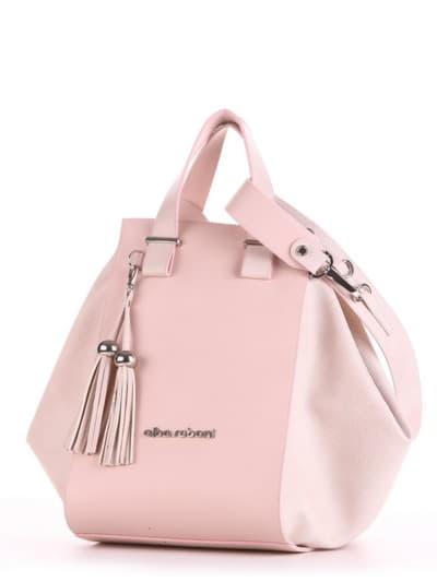 Летняя сумка, модель 190026 бежевый-розовый. Фото товара, вид сбоку.