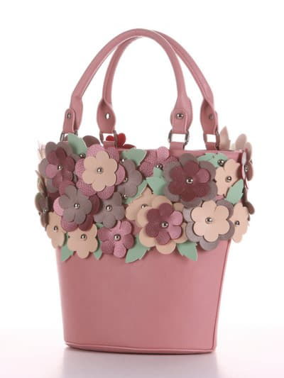 Летняя сумка, модель 190253 пудрово-розовый. Фото товара, вид сбоку.
