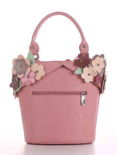 Летняя сумка, модель 190253 пудрово-розовый. Фото товара, вид сзади.
