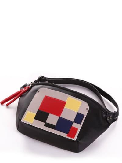 Літня сумка через плече, модель 190081 чорний. Фото товару, вид спереду.