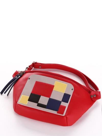 Летняя сумка через плечо, модель 190082 красный. Фото товара, вид спереди.