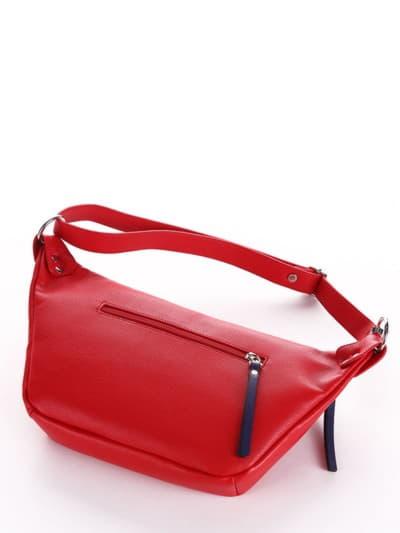 Летняя сумка через плечо, модель 190082 красный. Фото товара, вид сзади.