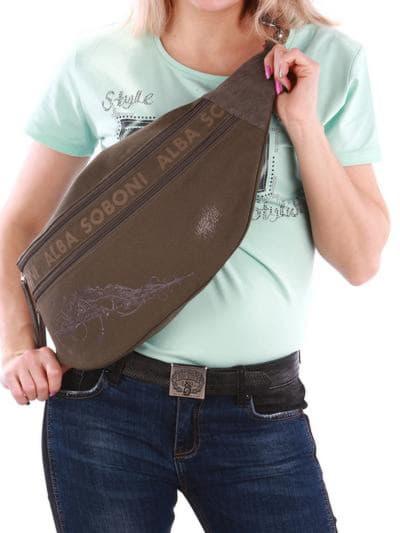 Стильна сумка через плече, модель 190095 хакі. Фото товару, вид спереду.