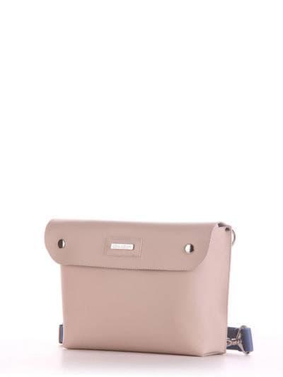 Стильная сумка через плечо, модель 190151 бежевый. Фото товара, вид сбоку.