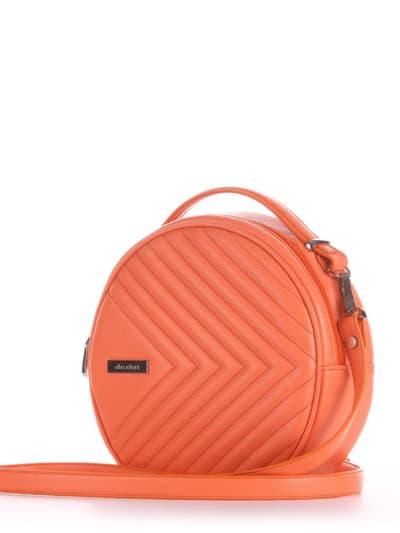 Летняя сумка через плечо, модель 190161 оранжевый. Фото товара, вид сбоку.