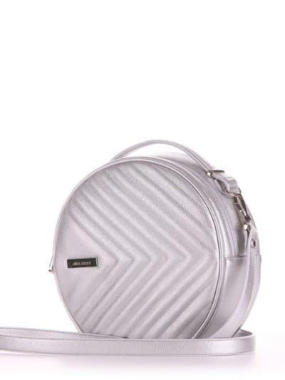 Летняя сумка через плечо, модель 190163 серебро. Фото товара, вид сбоку.