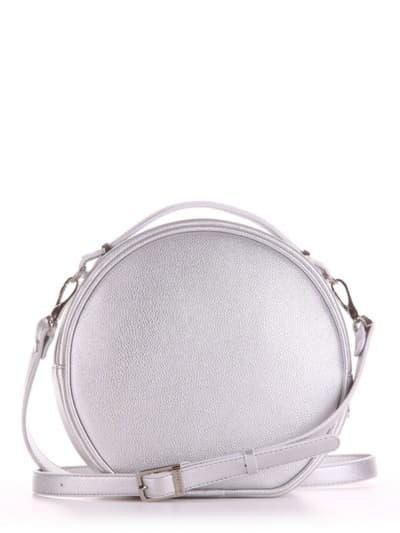Летняя сумка через плечо, модель 190163 серебро. Фото товара, вид сзади.