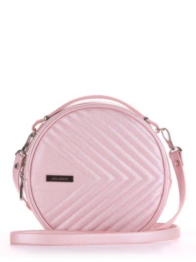 Летняя сумка через плечо, модель 190164 розовый-перламутр. Фото товара, вид спереди.
