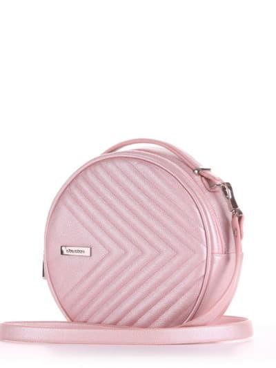 Летняя сумка через плечо, модель 190164 розовый-перламутр. Фото товара, вид сбоку.