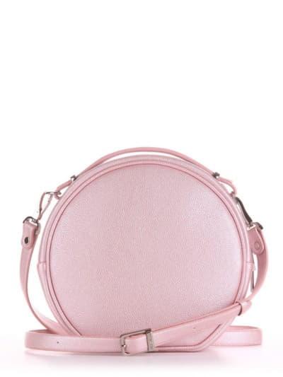 Летняя сумка через плечо, модель 190164 розовый-перламутр. Фото товара, вид сзади.