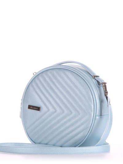 Брендовая сумка через плечо, модель 190165 голубой-перламутр. Фото товара, вид сбоку.