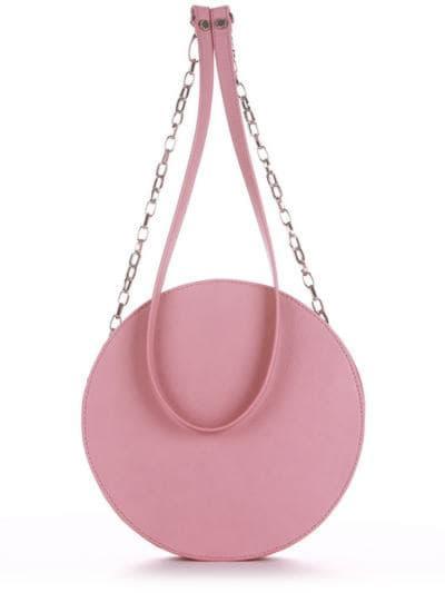 Брендова сумка через плече, модель 190363 пудрово-рожевий. Фото товару, вид ззаду.
