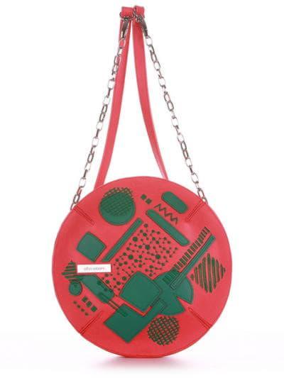 Стильная сумка через плечо, модель 190364 красный алый. Фото товара, вид спереди.