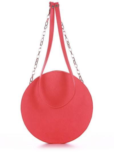 Стильная сумка через плечо, модель 190364 красный алый. Фото товара, вид сзади.