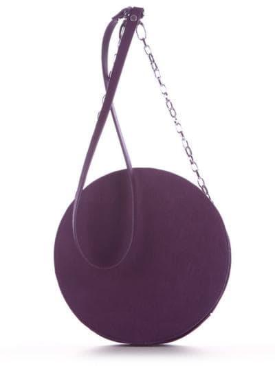 Модная сумка через плечо, модель 190365 баклажан. Фото товара, вид сзади.