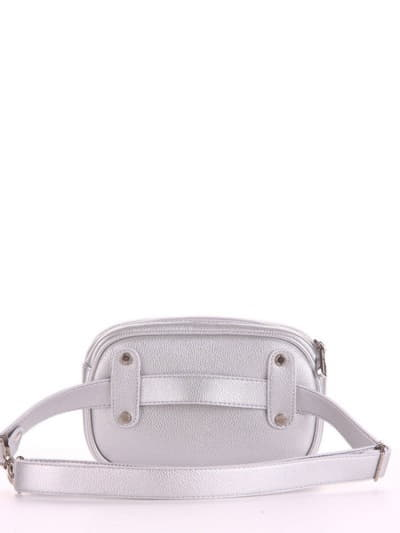 Молодежная сумка на пояс, модель 190173 серебро. Фото товара, вид сзади.