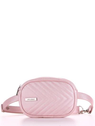 Брендовая сумка на пояс, модель 190174 розовый-перламутр. Фото товара, вид спереди.