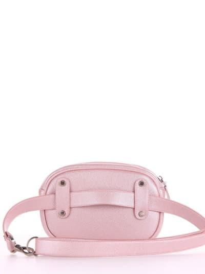 Брендовая сумка на пояс, модель 190174 розовый-перламутр. Фото товара, вид сзади.