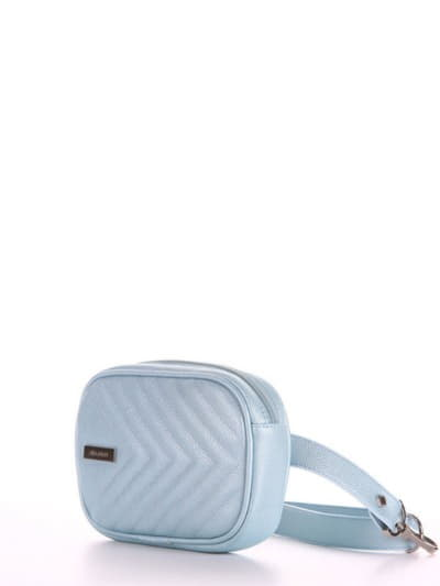 Брендовая сумка на пояс, модель 190175 голубой-перламутр. Фото товара, вид сбоку.