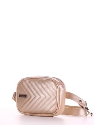 Летняя сумка на пояс, модель 190177 золото-перламутр. Фото товара, вид сбоку.