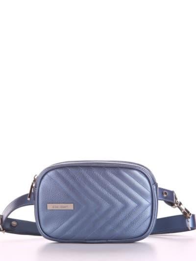 Молодежная сумка на пояс, модель 190179 стальной синий. Фото товара, вид спереди.