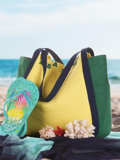 Летняя сумка, модель 190431 желтый-зеленый. Фото товара, вид сбоку.