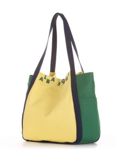 Летняя сумка, модель 190431 желтый-зеленый. Фото товара, вид сзади.