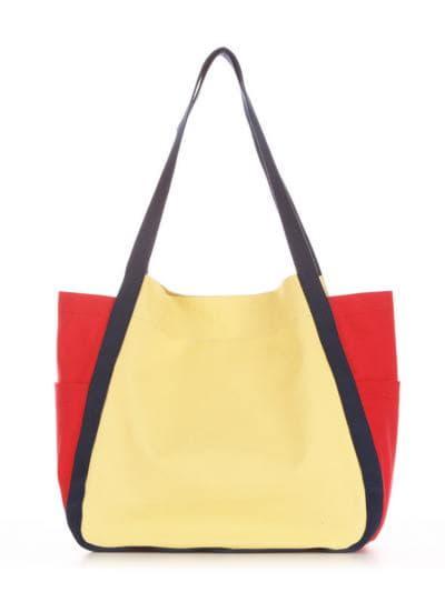 Женская сумка, модель 190432 желтый-красный. Фото товара, вид сзади.