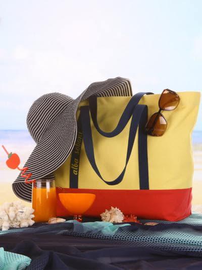 Летняя сумка, модель 190442 желтый-красный. Фото товара, вид сбоку.
