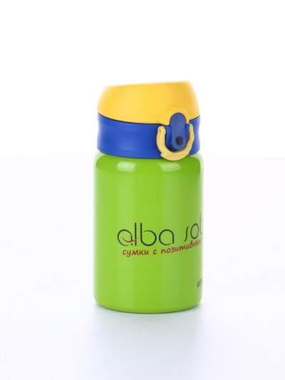 Модный термос вакуумный 280 мл салатовый с желтой крышкой. Фото товара, вид 1