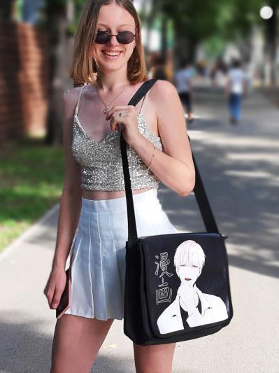 Шкільна сумка через плече з двостороннім клапаном alba soboni 211530 колір чорна. Фото - 1