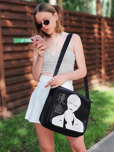 Шкільна сумка через плече з двостороннім клапаном alba soboni 211530 колір чорна. Фото - 3