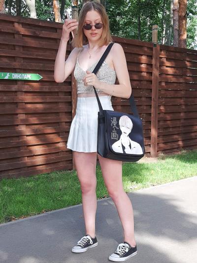 Шкільна сумка через плече з двостороннім клапаном alba soboni 211530 колір чорна. Фото - 4