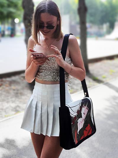 Шкільна сумка через плече Yumeko Jabami з двустороннім клапаном alba soboni 211531 колір чорна. Фото - 3