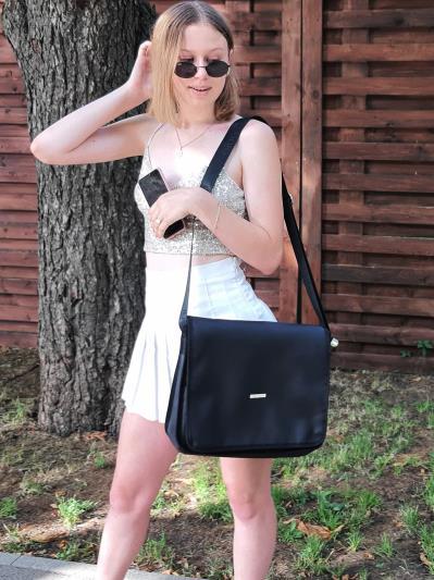 Шкільна сумка через плече Yumeko Jabami з двустороннім клапаном alba soboni 211531 колір чорна. Фото - 6