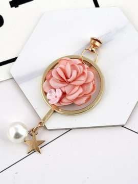 Молодежный брелок-подвеска на телефон цветок розовый в кольце золото. Изображение товара, вид 1