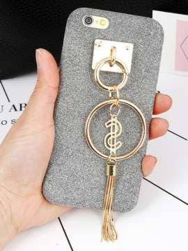 Брендовый брелок-подвеска на телефон кольцо с металлической кистью золото. Изображение товара, вид 1