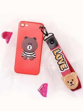 Стильний брелок на телефон ремінець ведмедик love червоний. Зображення товару, вид 2