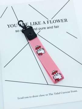 Молодежный брелок на телефон ремешок kiti розовый. Изображение товара, вид 1