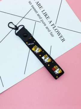 Брендовый брелок на телефон ремешок kiti lucky черный. Изображение товара, вид 1