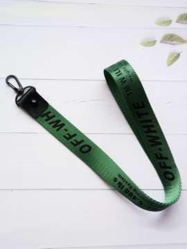 Молодежный брелок на телефон ремешок off-white длинный зеленый. Изображение товара, вид 1